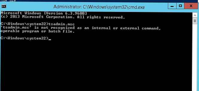 Zagon vtičnic TSADMIN.msc in TSCONFIG.msc v sistemu Windows Server 2012 R2